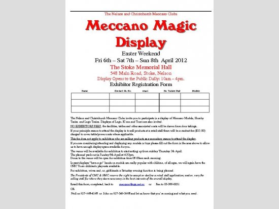 Meccano Magic Display - Registration Form